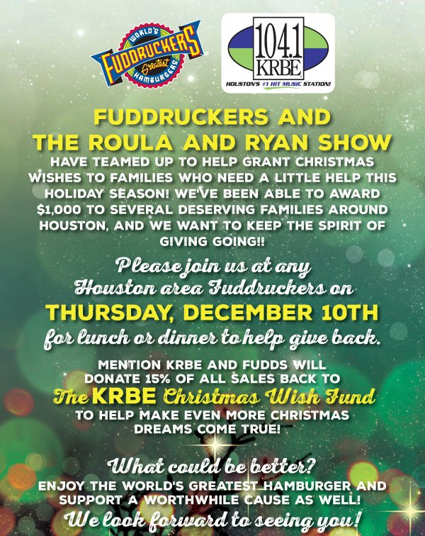 Houston area Fudds fans - eat at Fudds TODAY & proceeds will go to @KRBE's #KRBETweetmas w/ @RadioRoula! https://t.co/fArJR3trhh