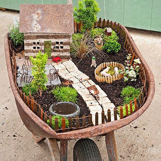 a great idea for an old wheelbarrow garden reuse. Black Bedroom Furniture Sets. Home Design Ideas
