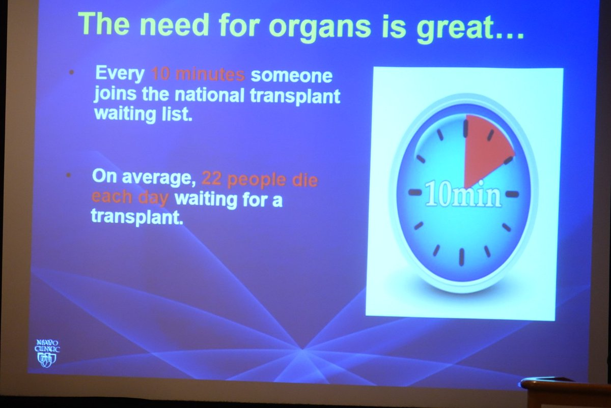 """On average, 22 people die each day waiting for a transplant."" slide from @MayoClinic's Dr. Zubair's talk. #WSCS15 https://t.co/MIkhhzw5A2"