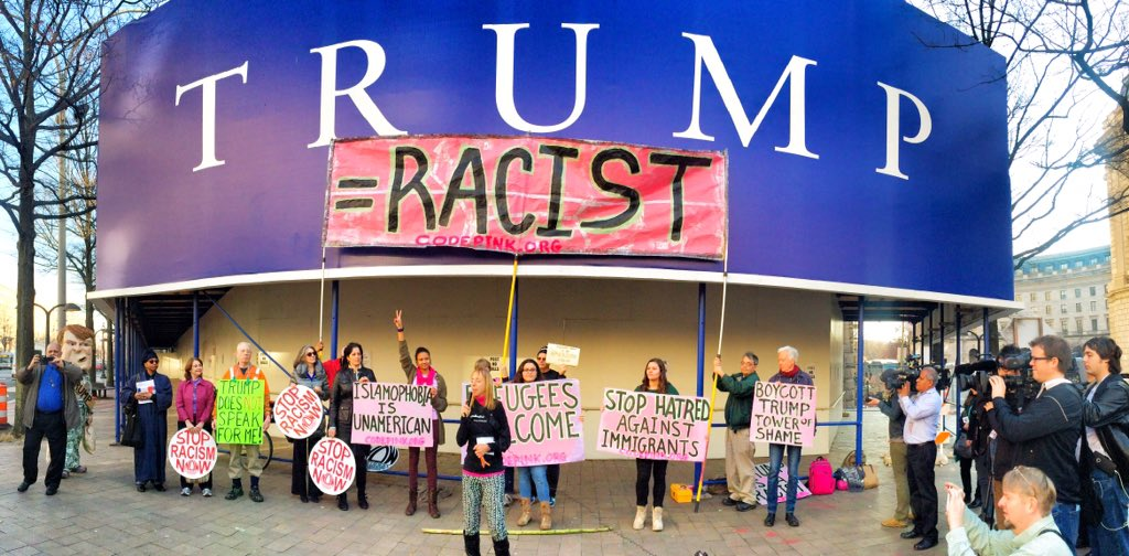 Today we fixed the sign at the Trump building in #DC #DumpTrump https://t.co/QPmAQuqlzK