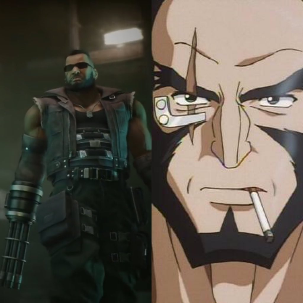 If you haven't noticed yet Barret is voiced in #FFVIIRemake by the same voice actor from Cowboy Bebop! Jet Black! https://t.co/WbuyDKytET
