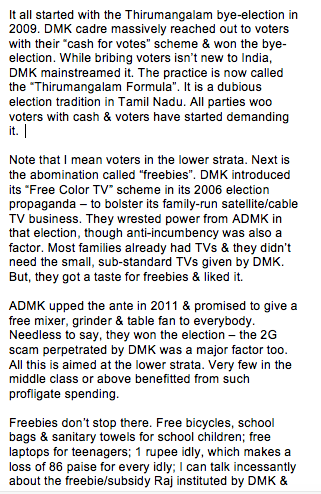 How do we obliquely attack the lure of the freebie, cash-for-votes Raj in Tamil Nadu? My latest post. https://t.co/VJUM5hQ40G
