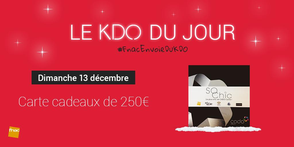 [13/12] RT et tweete avec #FnacEnvoieDuKDO pour tenter de gagner une Carte Cado de 250€ ! https://t.co/QWoAXhipX6 https://t.co/TOE12S5QAQ