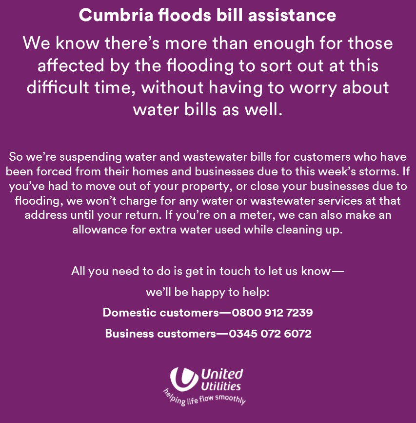 If you've been forced from your home or business due to the #cumbriafloods - we can help. Please RT. https://t.co/k0ripJT670