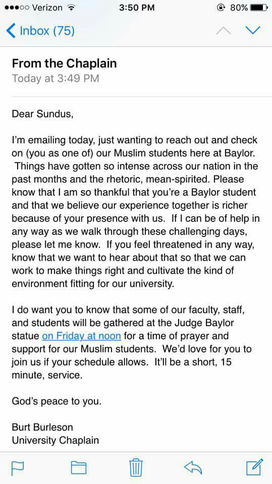 Here is how Baylor has decided to respond to its Muslim population. https://t.co/SLlqe5Dlyn