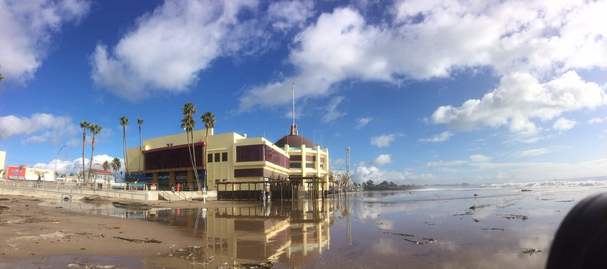 santa cruz beach boardwalk fends off high surf  localized