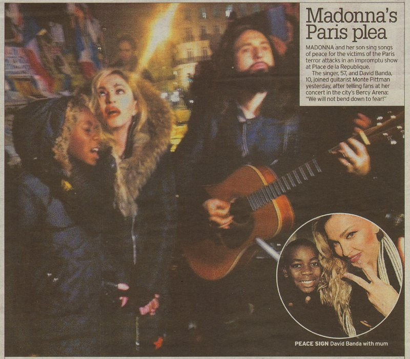 UK newspaper the Daily Mirror covering @Madonna's and @montepittman performance at the Place de la République https://t.co/UrgeabXFxo