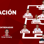 Este será el #XI y el banquillo del #SevillaFC para enfrentarse al @valenciacf #SFCvVCF #VamosMiSevilla https://t.co/rrpu9xQ6aS