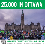 OFFICIAL COUNT: 25,000 MARCH IN #OTTAWA! Thank you to everyone who came! #100possible #climatemarch https://t.co/ORw8IOeduT