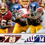 FIRST PLACE! #Redskins defeat the Giants, 20-14, to jump into first place in the NFC East! #HTTR #NYGvsWAS https://t.co/jNc7Pv0Wum