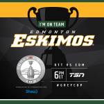 Who are YOU supporting today? RT & show your badge of support for the @EdmontonEsks. #GreyCup #CFL https://t.co/vXlp20KIAB