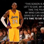 Parting words from the one and only @kobebryant.(via @PlayersTribune) https://t.co/YByxxto1DG