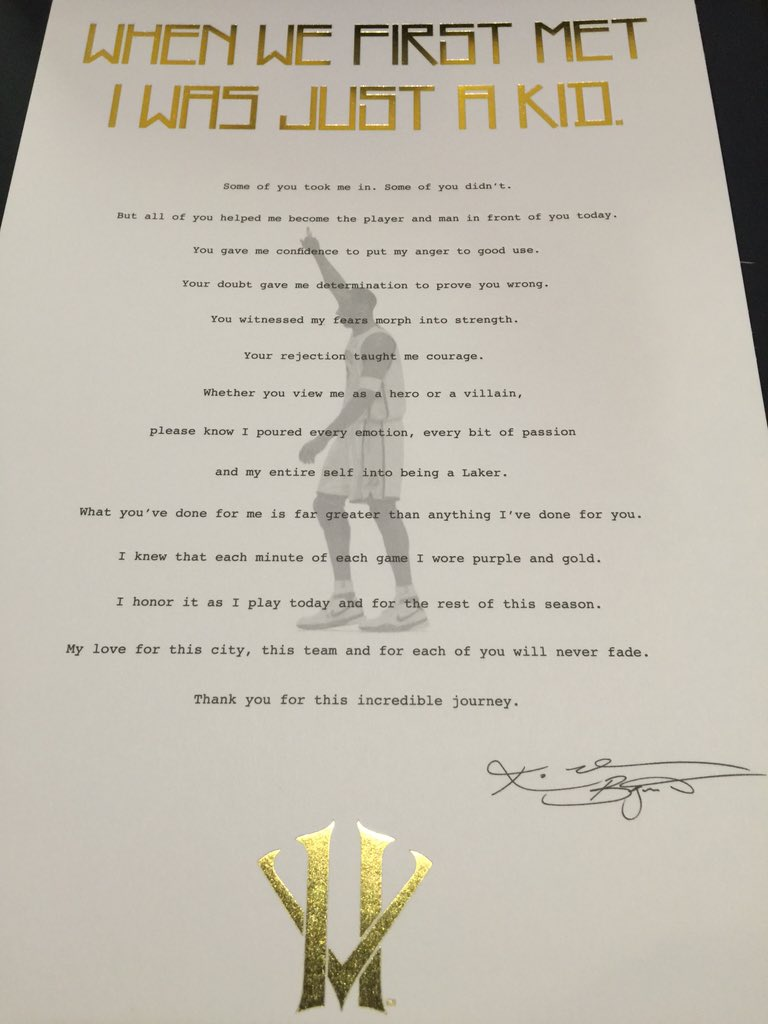 Fans attending tonight's Lakers game are getting this letter from Kobe. https://t.co/gRSpuaKoTE