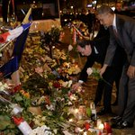 Obama places single white flower at memorial to 89 killed at Bataclan in Paris https://t.co/HCu6vIeq1v https://t.co/rWEmdzBe9B