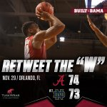 #RollTide @AlabamaMBB gets its second Top 25 win in a row, 74-73 over #17 Notre Dame! #BuckleUp https://t.co/OxPWYG3chS