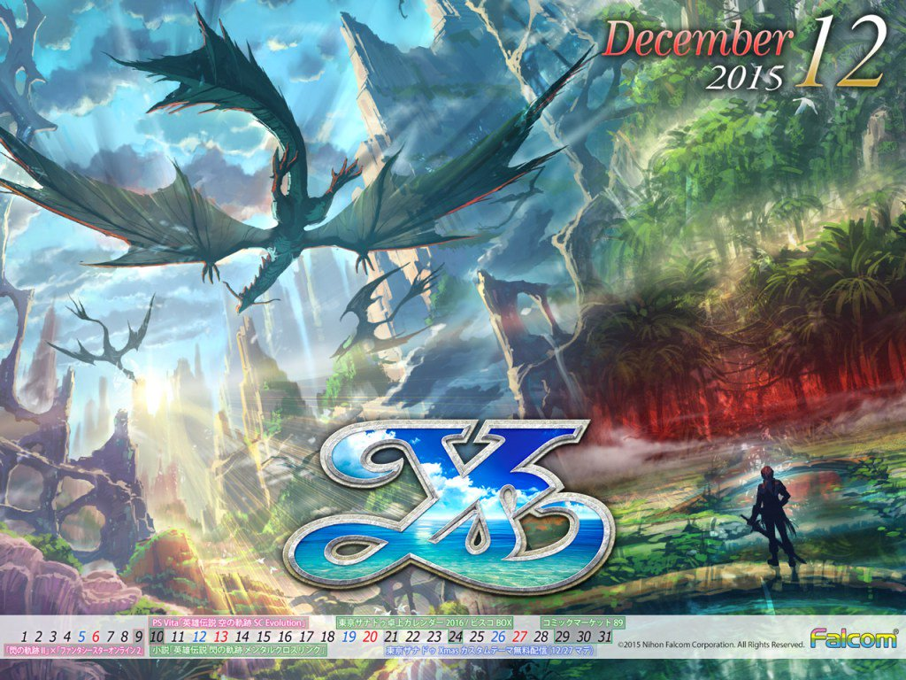 Falcom's December Calendar Now Available, Featuring Ys VIII https://t.co/Rn8Dujf4DI https://t.co/qaG1rQlUrr