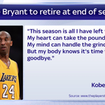 Kobe Bryant has announced that he will retire at the end of the current NBA season. https://t.co/SxRiDPHoUX