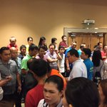 .@inquirerdotnet Duterte supporters forming a human wall for Dutertes entrance. https://t.co/9sZ8Tv41CS