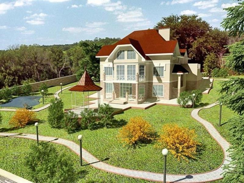 Коттедж с ландшафтным дизайном