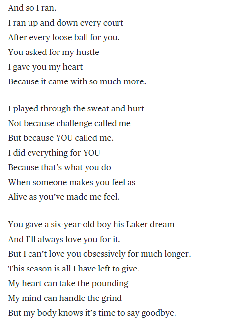 Kobe Bryant Has Decided To Announce His Retirement In The Form Of A Poem It