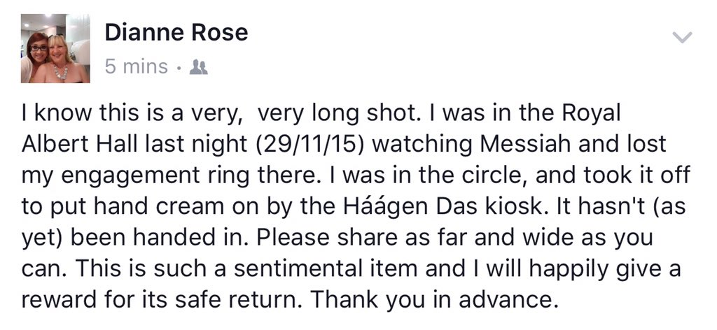@ThisisDavina  can you help with a RT? A friend lost their ring last night at @RoyalAlbertHall #scratchmessiah show https://t.co/JOoQWwrh6P