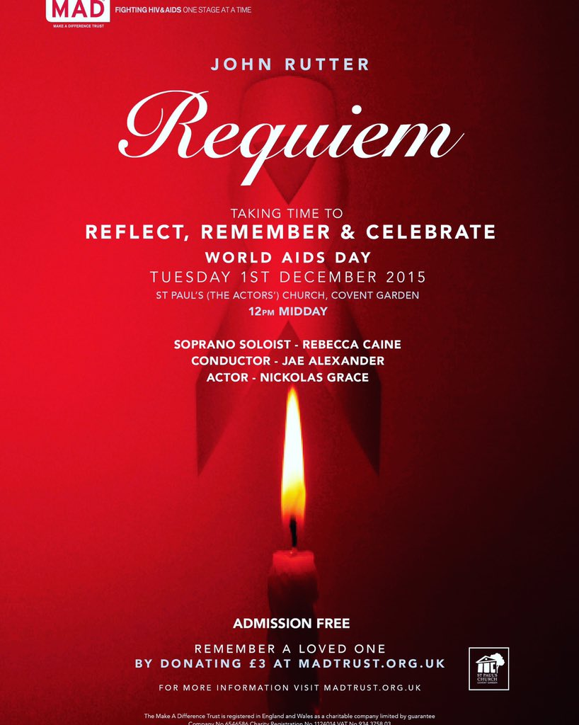 This is at 12 tomorrow. 45 minutes to remember those we have lost. #WorldAIDSDay pls RT. https://t.co/4C47bQs6kJ