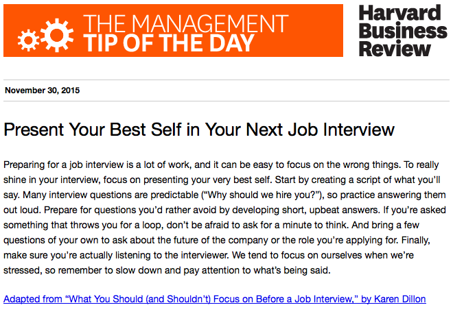 Today's management tip: What to focus on during your next job interview https://t.co/uehtOYh9sY