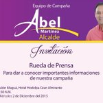 Equipo de @AbelMartinezD, invita a rueda de Prensa, para dar a conocer avances con miras #PrimariasPLD #AbelAlcalde https://t.co/65TbmZoLCE