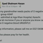 HELP! My family is looking for O -ve blood. Contact Shahnam 0321-3658322 get in touch and share. #karachi https://t.co/jWsduM6Hks