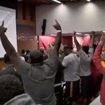 VIDEO: USC players erupt in cheers after hearing Clay Helton was named head coach https://t.co/h0123r4RNm https://t.co/LvUAMDMkBe