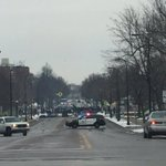 My view of #4thPrecinctShutDown on the way to the airport. Its growing. Please support. https://t.co/wHcmH91LkR