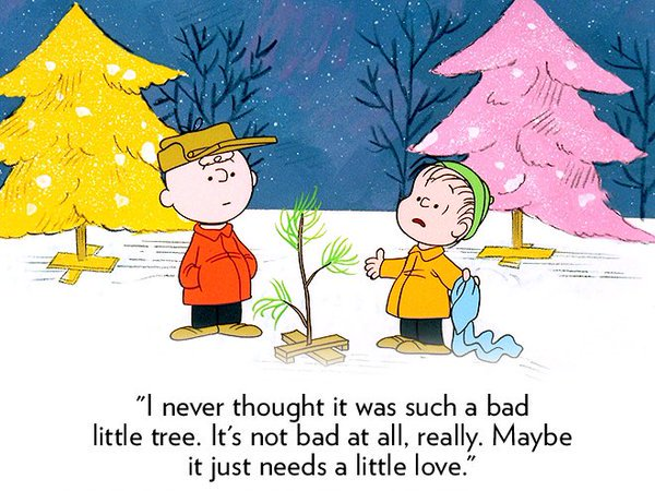 It's not a bad tree, maybe it just needs a little love. 50 yrs., best one ever #CharlieBrownChristmas https://t.co/CnM2AgpHTZ