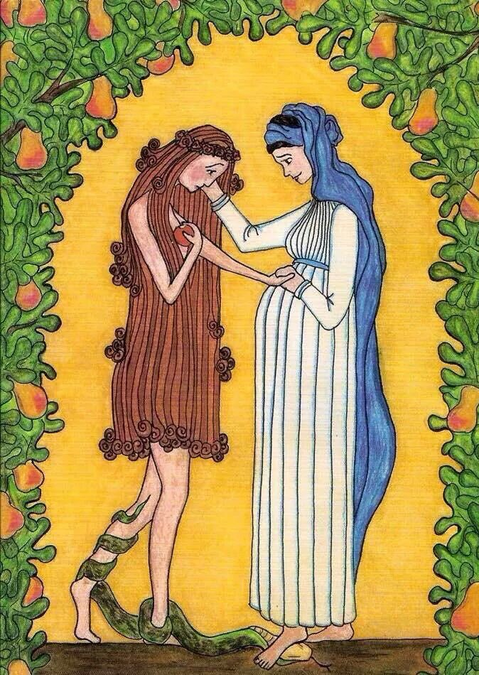 """Mary Comforts Eve"" -- beautiful. https://t.co/ytUuzGTJWR https://t.co/Je1qoSjUSw"