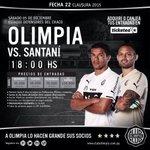 Precios de entradas para #Olimpia vs #Santani . #CopaDePrimera Fecha - 22 https://t.co/REStoPEEl5