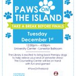 Hey, Islanders - take a break and pet a pooch tomorrow at #PawsOnTheIsland! #TAMUCC https://t.co/qgD35wKnmT