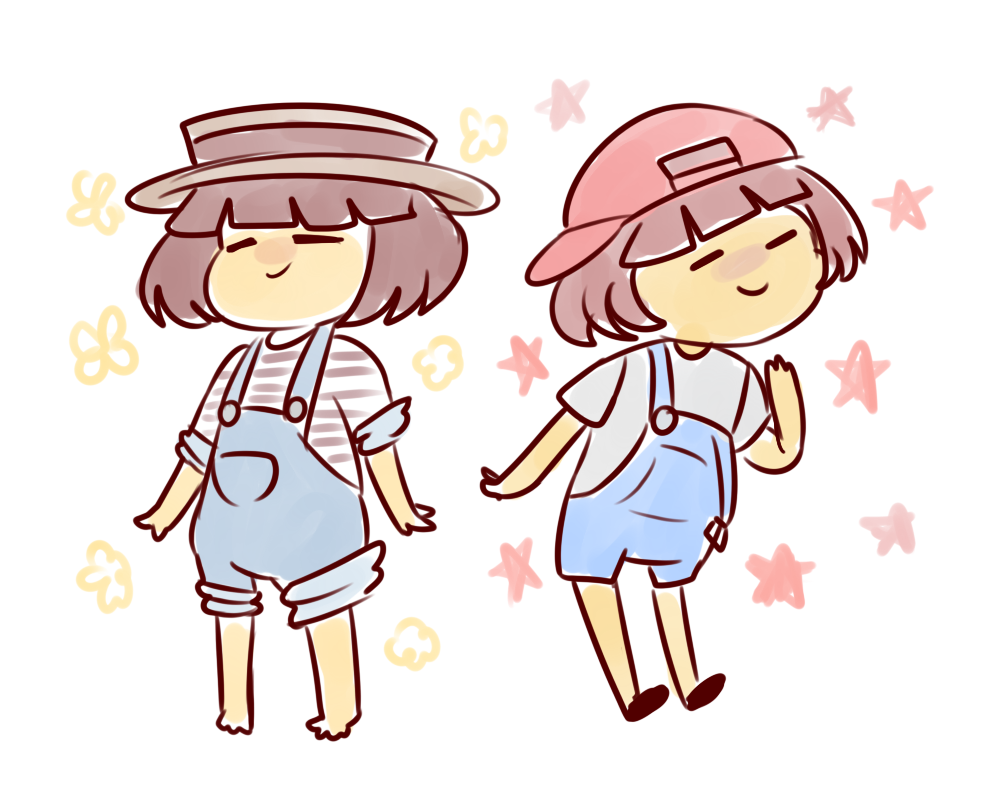 frisk in cute overalls + skele bros in overalls?? #undertale60min #undertale https://t.co/LGHeXclda2
