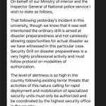 Statement from Kenya police-they werent consulted by Strathmore uni re:terror drill which left 1 dead & 30 injured. https://t.co/8tb5xDaSbC