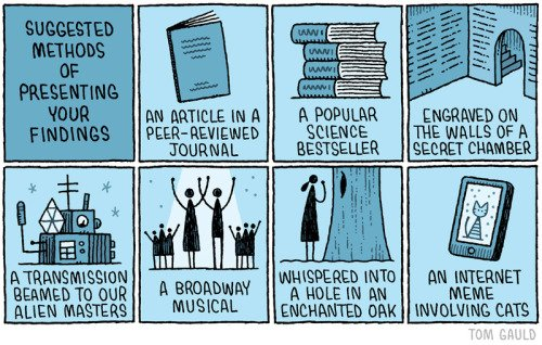 Para los científicos de mi TL. Super tira de Tom Gould. Como publicar los resultados científicos. https://t.co/2aYHoqxRzz