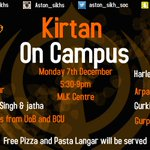 Final Kirtan on Campus of the year by @aston_sikh_soc next Monday. Lots of students from Midland Unis attending. https://t.co/vd1A9vURUW