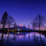 星々が輝きだすころ、富士はその高さゆえの残照で浮かび上がります。(昨日撮影) https://t.co/LE11cSaqEy