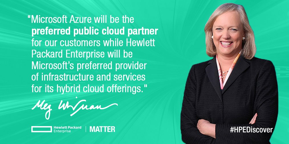 .@HPE & @Microsoft announce a 3 yr partnership that will advance innovation in hybrid cloud computing. #HPEDiscover https://t.co/Ts6CkfmZnk