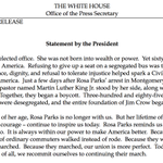 """President Obama statement on #RosaParks: """"Sixty years ago today, Rosa Parks changed America."""" https://t.co/fAuvSIRHZP"""