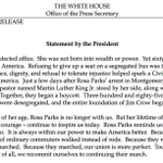 """.@POTUS statement on #RosaParks: """"Sixty years ago today, Rosa Parks changed America."""" https://t.co/VXDBQCT2Bo"""