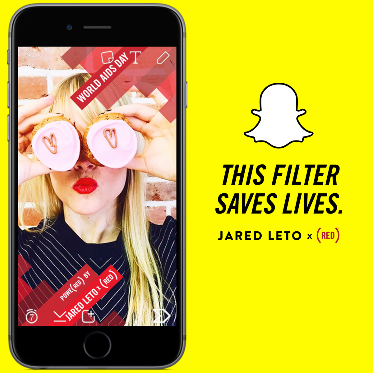RT @RED: THIS FILTER SAVE LIVES! Use @JaredLeto's @RED filter on @Snapchat today & @GatesFoundation donates $3 up to $3MM! https://t.co/dKN…