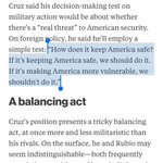 """Cruz approach to world affairs borrows much from Obamas """"dont do stupid shit"""" doctrine. https://t.co/HdadgpAW5v https://t.co/H8wxoG3ML3"""