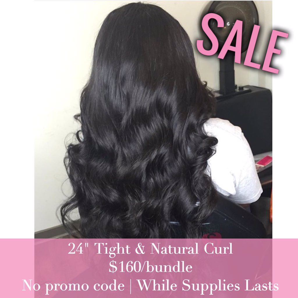 "Current SALE on 24"" Natural Curl $160/bundle, no promo code at https://t.co/oqEhO5aC94 while supplies lasts https://t.co/muwTnydc1v"
