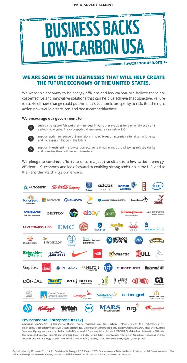 Today Microsoft joins 100+ companies supporting a #LowCarbonUSA with this ad in @WSJ https://t.co/mXlvZb5o5Y #COP21 https://t.co/EIYN4k1fLx