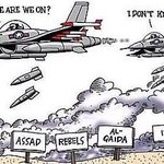 "David Camerons strategy in Syria:- ""No idea whose side we are on, so just drop the bombs anyway."" #DontBombSyria https://t.co/egjmLVWzbr"