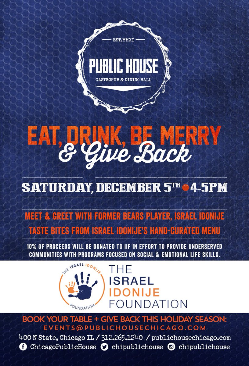 This Saturday, GIVE BACK with @iidonije & @TeamIIF. Come by for a bite + a meet & greet with Idonije himself! https://t.co/MawnOXxTha