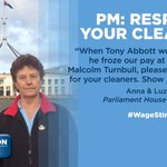 Fed Parl cleaners are on strike! TELL @TurnbullMalcolm to respect his cleaners! https://t.co/jpQaPWnCUE #WageStink https://t.co/nnykyJPgzE